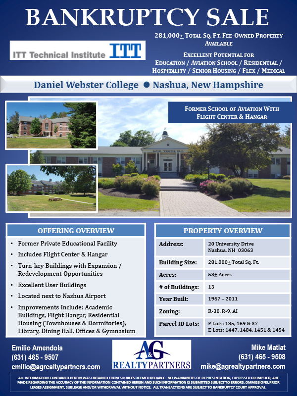 Bankruptcy Sale - Former Private Educational Facility with Dormitories, Flight Center and Hangar - Daniel Webster College